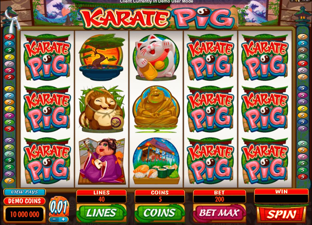 karate pig microgaming slot